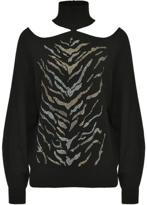 Pinko Zebra Print Cut Out Jumper