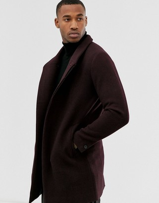 Jack and Jones funnel neck wool overcoat in burgundy-Red