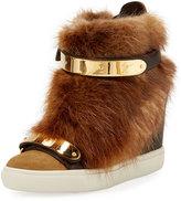 Giuseppe Zanotti Fox Fur Grip Strap Sneaker, Beige