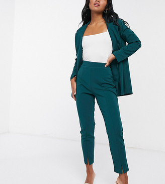ASOS DESIGN Petite jersey slim suit pants in forest green
