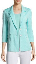 Misook Textured Two-Button Jacket, Sea Grass