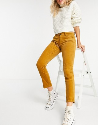 JDY skinny cord trouser in golden brown
