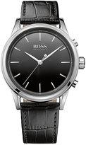 BOSS Men's Smart Classic Black Leather Strap Smart Watch 44mm 1513450