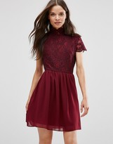 Daisy Street Skater Dress With Lace Top