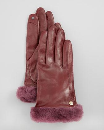 UGG Classic Leather Smart Gloves, Mahogany