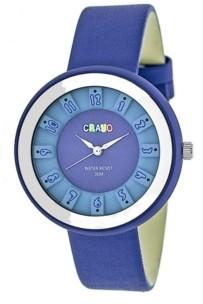 Crayo Unisex Celebration Blue Genuine Leather Strap Watch 38mm