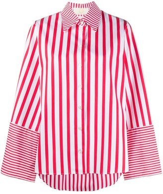 Sara Battaglia Oversized Striped Print Shirt
