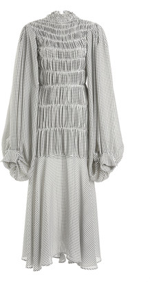 Victoria Beckham Smocked Seersucker Midi Dress