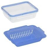 Snapware 6.5-Cup Rectangular Glass Steamer Blue