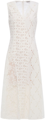 GOEN.J Leavers Lace-paneled Broderie Anglaise Velvet Midi Dress