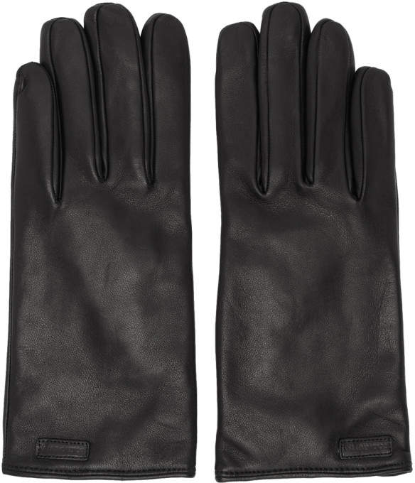 Dolce & Gabbana Black Leather Logo Gloves