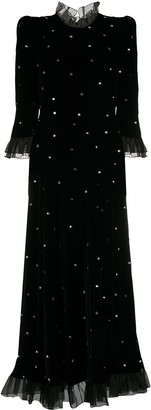 Philosophy di Lorenzo Serafini Embellished Velvet High-Neck Dress