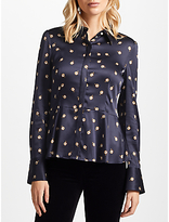 Marc Cain Silk Blend Peplum Printed Blouse, Navy