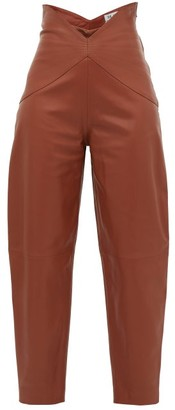 ATTICO The Butterfly-insert High-waist Leather Trousers - Womens - Brown
