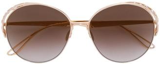 Elie Saab Swarovski crystal-embellished round-frame sunglasses