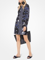 Michael Kors Mixed Floral Douppioni Shift Dress