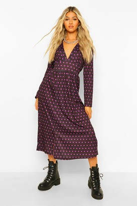 boohoo Tall Woven Long Sleeve Polka Dot Midi Dress