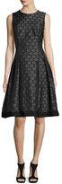 Carmen Marc Valvo Sleeveless Pleated Jacquard Dress, Charcoal