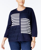 Alfred Dunner Plus Size Uptown Girl Collection Embellished Patchwork Sweater
