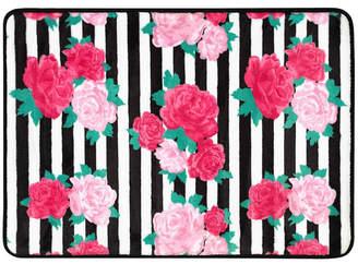 "Betsey Johnson Flower Stripe 17"" x 24"" Memory Foam Bath Rug Bedding"