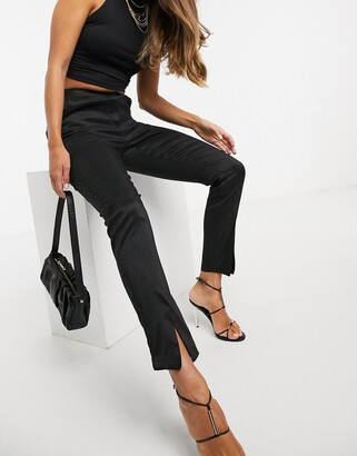 UNIQUE21 split front taffeta trousers in black