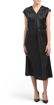 Silk V-neck Drape Dress