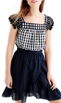 J.Crew J. Crew Embroidered Gingham Top