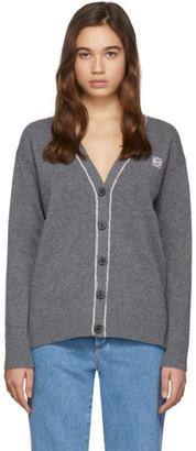 Loewe Grey and Pink Wool Anagram Cardigan
