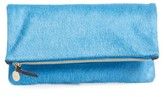 Clare Vivier Genuine Calf Hair Foldover Clutch - Blue