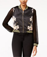 Material Girl Juniors' Illusion-Sleeve Bomber Jacket, Only at Macy's