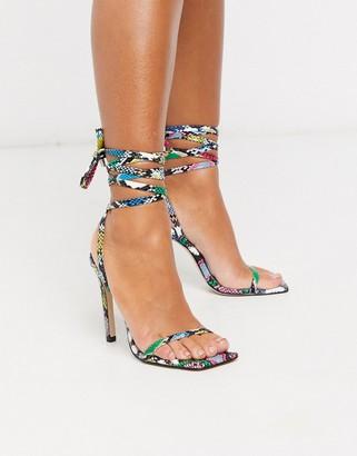 Steve Madden Uplift heel sandal with square toe in snake