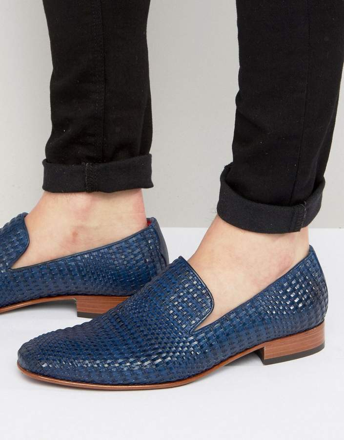 Jeffery West Yung Woven Leather Smart Loafers