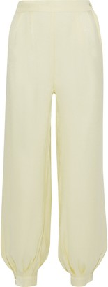 Onia Jodie Metallic Crinkled-gauze Tapered Pants