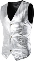 uxcell® Men Contrast Color Metallic Panel Button Closure Vest S