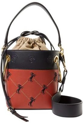 Chloé Roy Mini Studded Embroidered Leather Bucket Bag