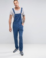 Asos Denim Overalls With Abrasions In Blue