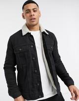 Asos Design ASOS DESIGN denim jacket with ecru teddy lining in black