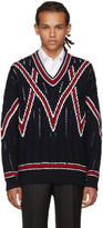 Brioni Navy Cable Knit V-neck Sweater
