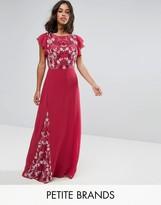 Maya Petite Embellished Maxi Dress With Fluted Sleeve