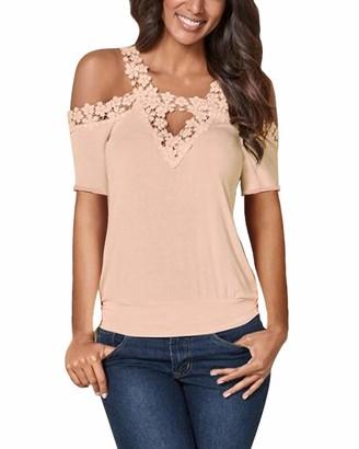 CNFIO Women Summer Cold Shoulder Tops Casual Short Sleeve Crochet Lace Blouse Shirts Black XXL