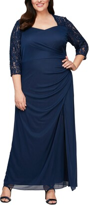 Alex Evenings Lace Yoke & Sleeves Ruched Gown