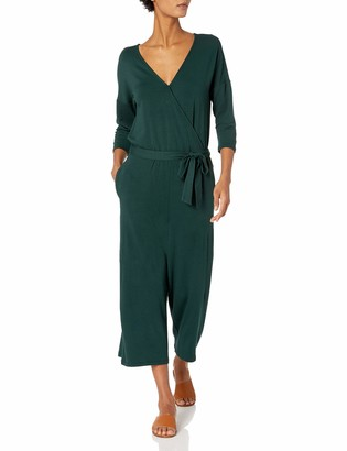 Daily Ritual Amazon Brand Women's Supersoft Relaxed-Fit Terry Elbow-Sleeve Overlap Jumpsuit