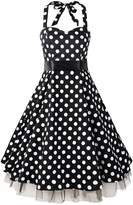 Shengdilu Women's Polka Dot Strappy Halter 1950s Rockabilly Retro Party Dress XL