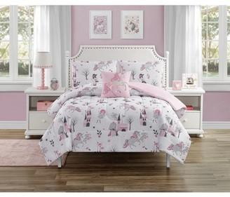 Beco Home Princess Unicorn 3 Piece Comforter Set with decor pillow Twin