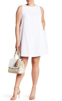 Sharagano Sleeveless Eyelet A-Line Dress (Plus Size)