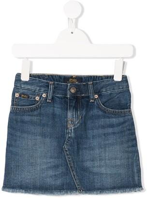 Ralph Lauren Kids Frayed Denim Skirt