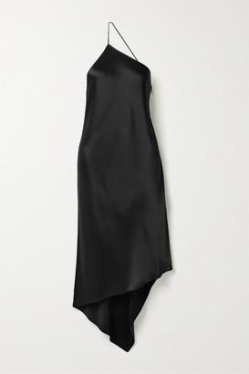 Deveaux - Guinevere Asymmetric One-shoulder Satin Dress - Black