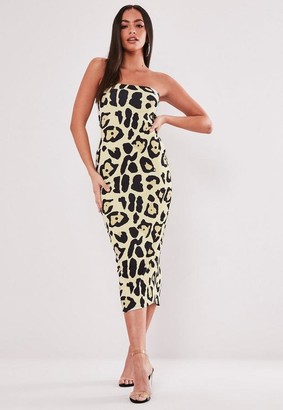 Missguided Sand Leopard Print Bandeau Midaxi Dress