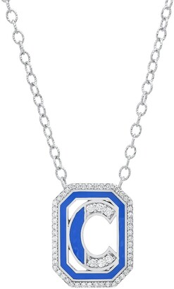 Colette 18kt white gold Gatsby C initial diamond and enamel necklace