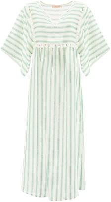 Tory Burch STRIPED LINEN CAFTAN DRESS M White, Green Linen